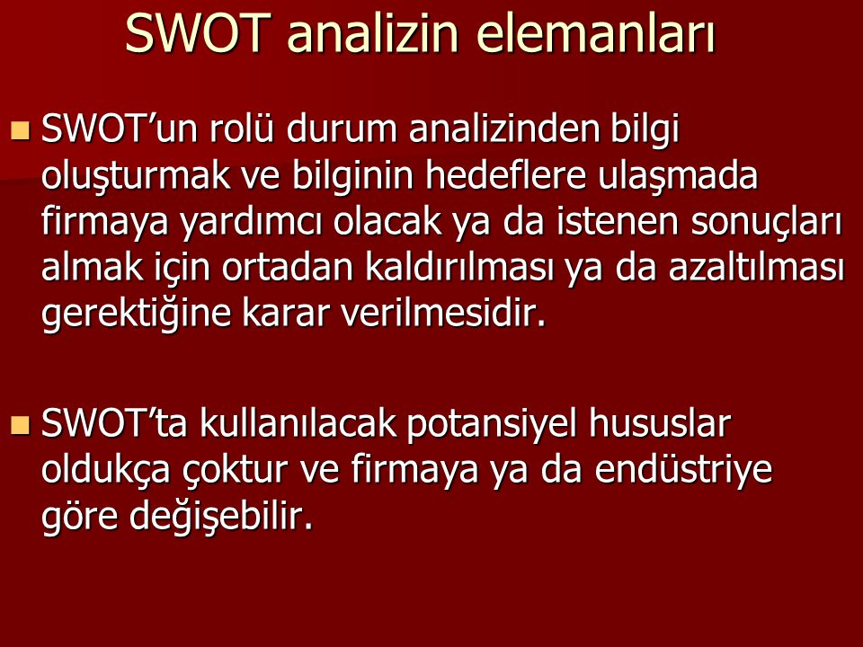 SWOT analizin elemanları