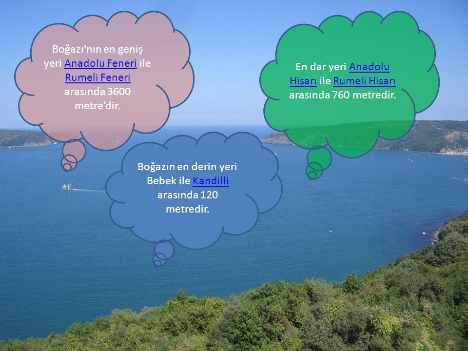 En dar yeri Anadolu Hisarı ile Rumeli Hisarı arasında 760 metredir.