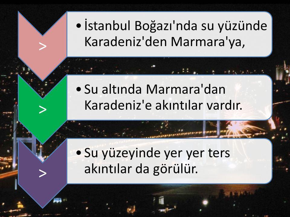 > İstanbul Boğazı nda su yüzünde Karadeniz den Marmara ya, Su altında Marmara dan Karadeniz e akıntılar vardır.