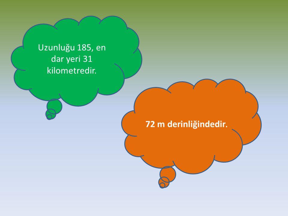 Uzunluğu 185, en dar yeri 31 kilometredir.