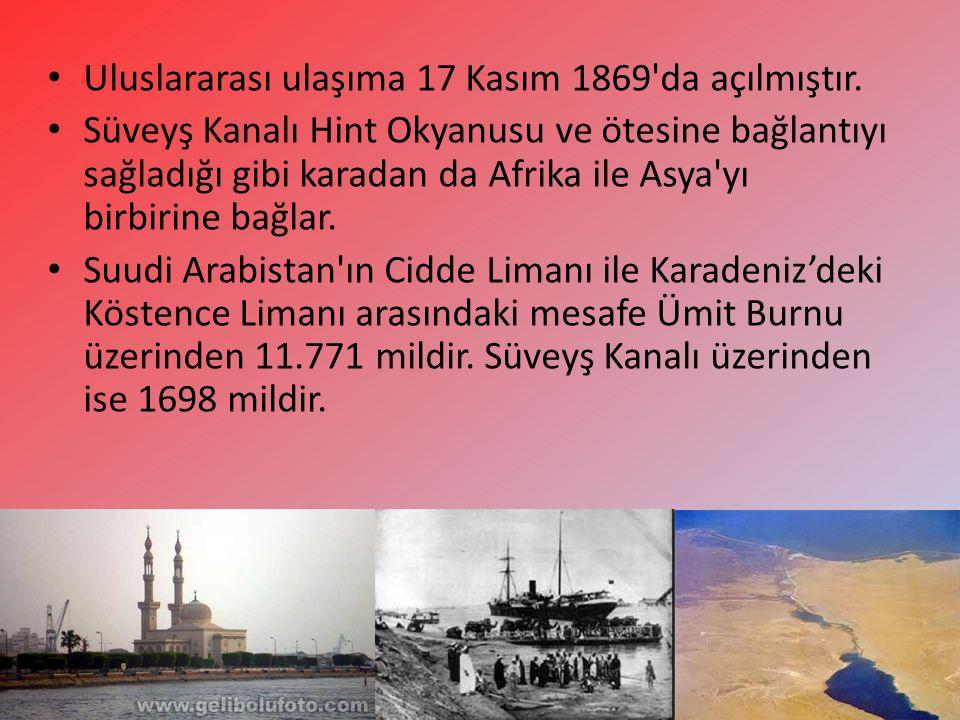 Uluslararası ulaşıma 17 Kasım 1869 da açılmıştır.