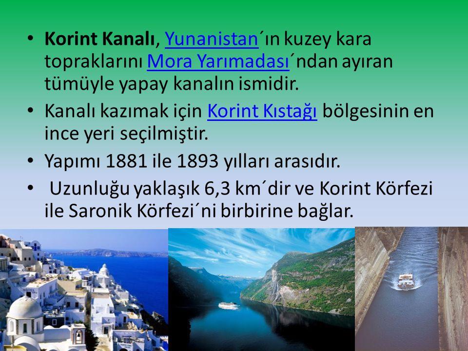 Korint Kanalı, Yunanistan´ın kuzey kara topraklarını Mora Yarımadası´ndan ayıran tümüyle yapay kanalın ismidir.