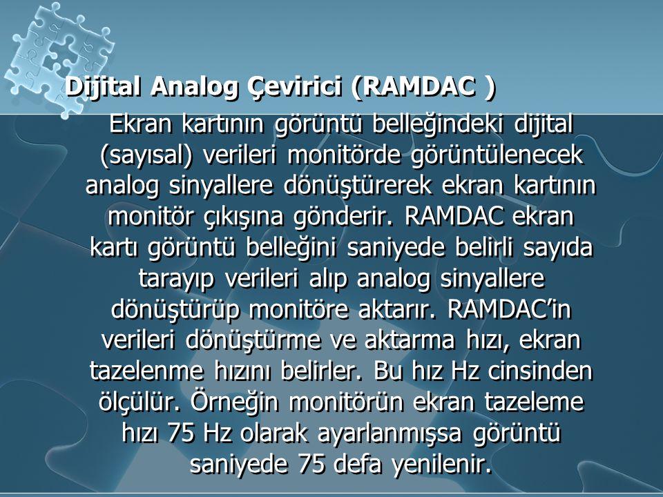 Dijital Analog Çevirici (RAMDAC ) Ekran kartının görüntü belleğindeki dijital (sayısal) verileri monitörde görüntülenecek analog sinyallere dönüştürerek ekran kartının monitör çıkışına gönderir.