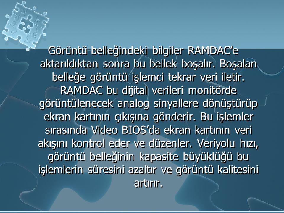 Görüntü belleğindeki bilgiler RAMDAC'e aktarıldıktan sonra bu bellek boşalır.
