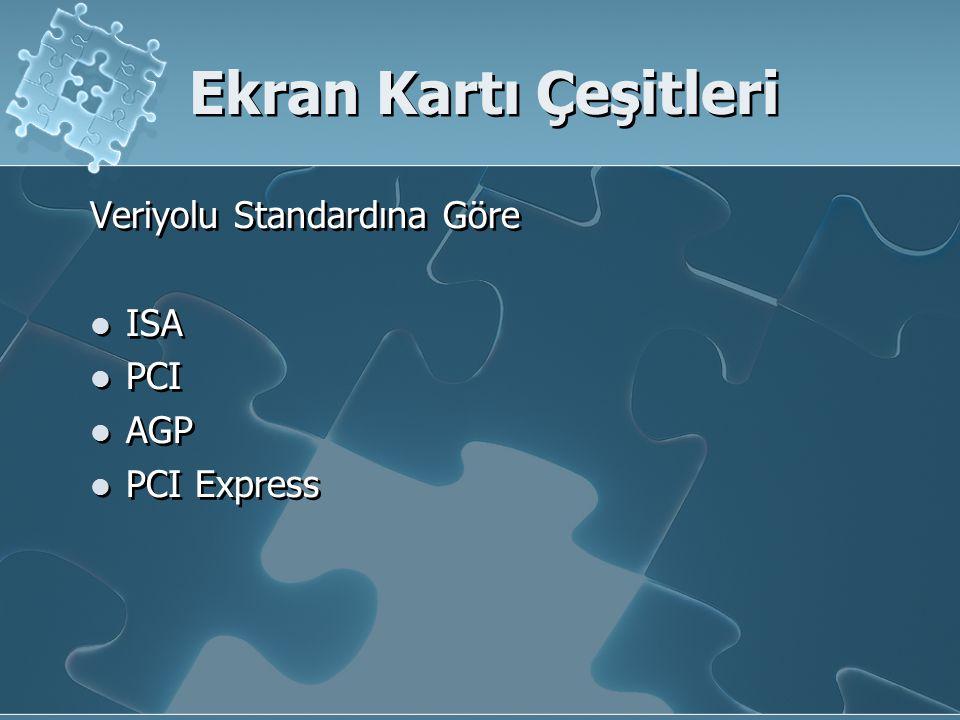 Ekran Kartı Çeşitleri Veriyolu Standardına Göre ISA PCI AGP