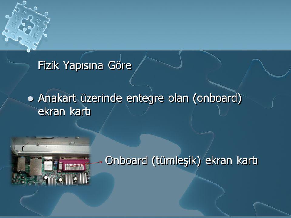 Fizik Yapısına Göre Anakart üzerinde entegre olan (onboard) ekran kartı.