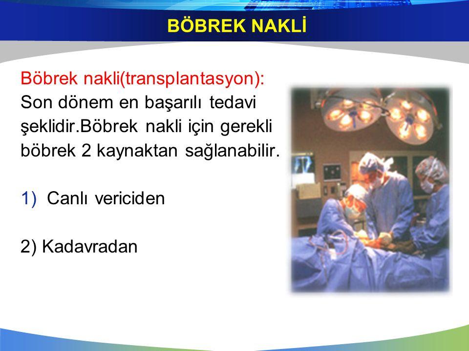 BÖBREK NAKLİ Böbrek nakli(transplantasyon): Son dönem en başarılı tedavi. şeklidir.Böbrek nakli için gerekli.