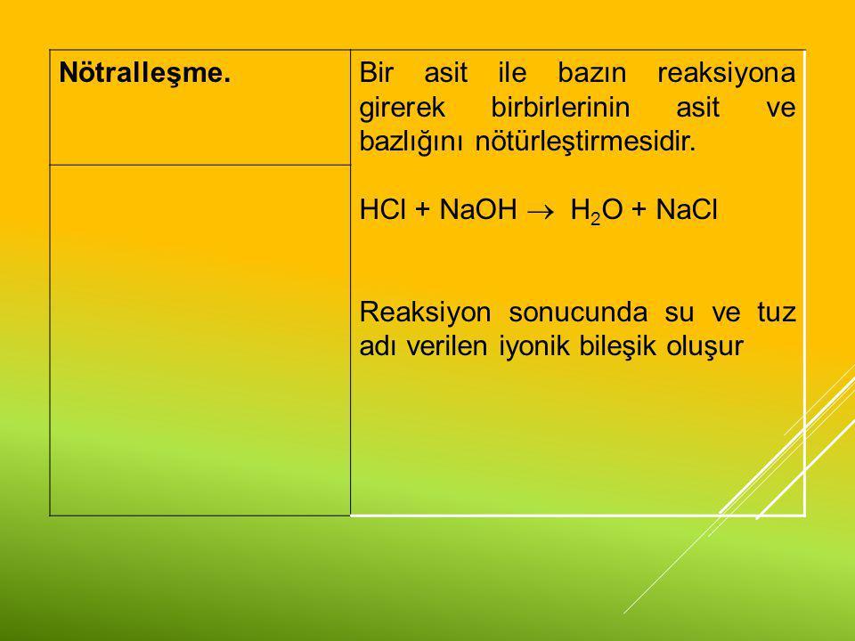 Nötralleşme. Bir asit ile bazın reaksiyona girerek birbirlerinin asit ve bazlığını nötürleştirmesidir.