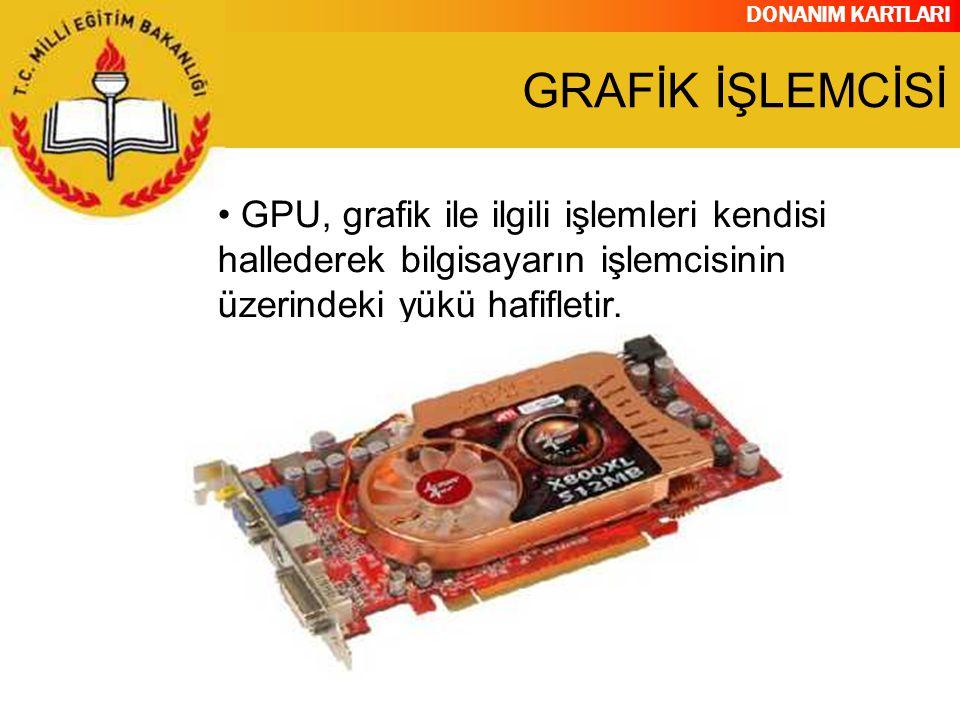 GRAFİK İŞLEMCİSİ GPU, grafik ile ilgili işlemleri kendisi hallederek bilgisayarın işlemcisinin üzerindeki yükü hafifletir.