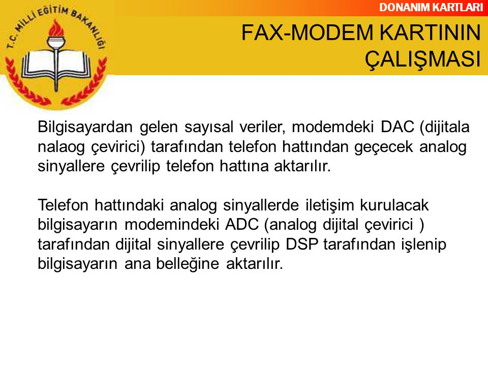 FAX-MODEM KARTININ ÇALIŞMASI