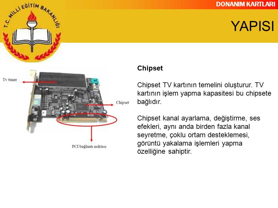 YAPISI Chipset. Chipset TV kartının temelini oluşturur. TV kartının işlem yapma kapasitesi bu chipsete bağlıdır.