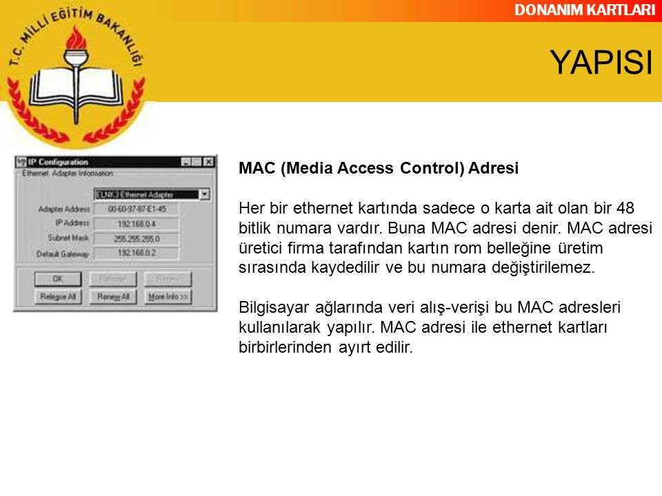 YAPISI MAC (Media Access Control) Adresi