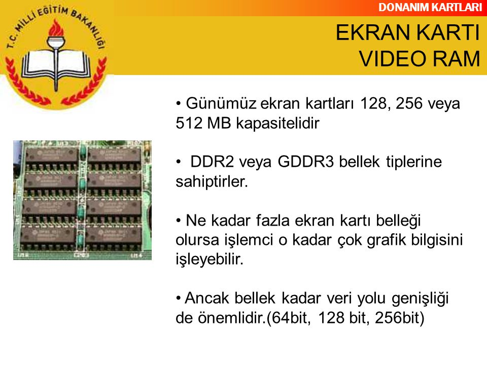 EKRAN KARTI VIDEO RAM Günümüz ekran kartları 128, 256 veya 512 MB kapasitelidir. DDR2 veya GDDR3 bellek tiplerine sahiptirler.