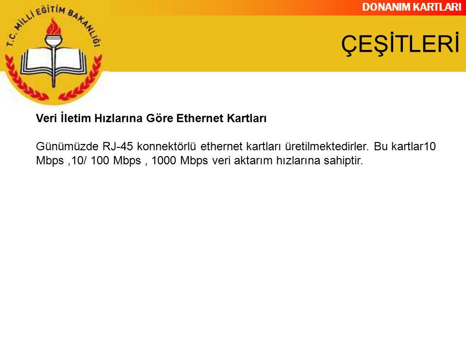 ÇEŞİTLERİ Veri İletim Hızlarına Göre Ethernet Kartları