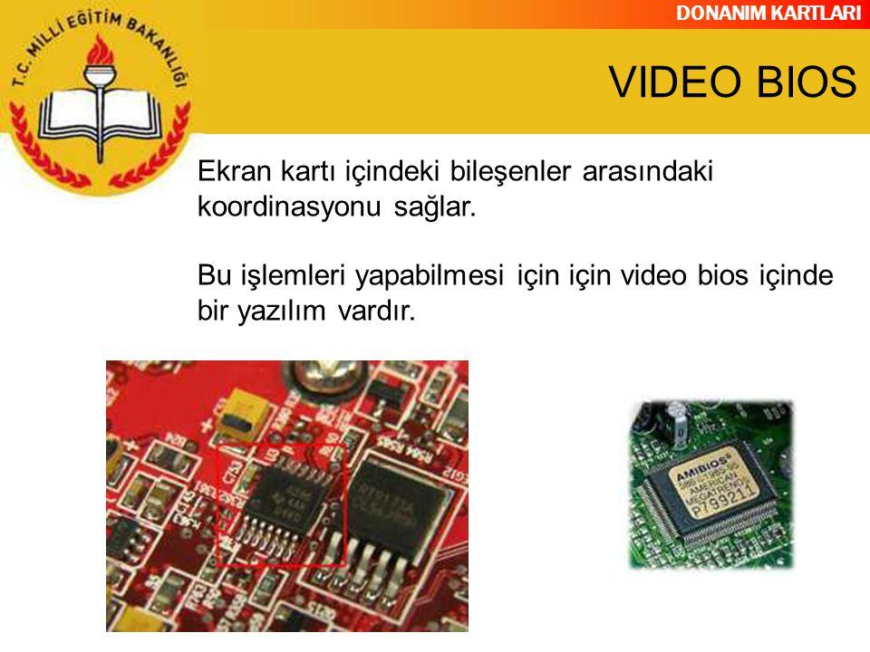 VIDEO BIOS Ekran kartı içindeki bileşenler arasındaki koordinasyonu sağlar.