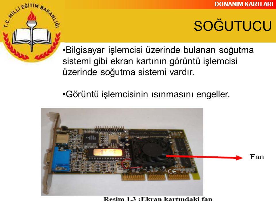 SOĞUTUCU Bilgisayar işlemcisi üzerinde bulanan soğutma sistemi gibi ekran kartının görüntü işlemcisi üzerinde soğutma sistemi vardır.