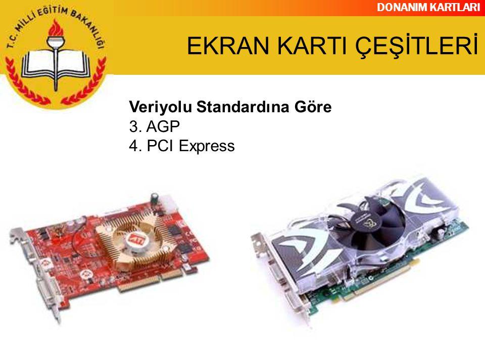 EKRAN KARTI ÇEŞİTLERİ Veriyolu Standardına Göre 3. AGP 4. PCI Express