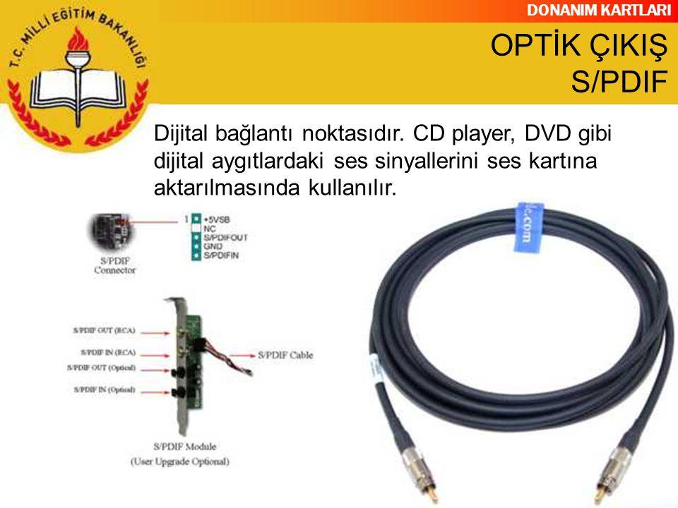 OPTİK ÇIKIŞ S/PDIF Dijital bağlantı noktasıdır.