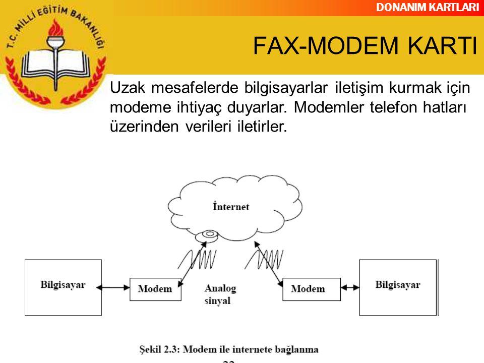 FAX-MODEM KARTI Uzak mesafelerde bilgisayarlar iletişim kurmak için modeme ihtiyaç duyarlar.