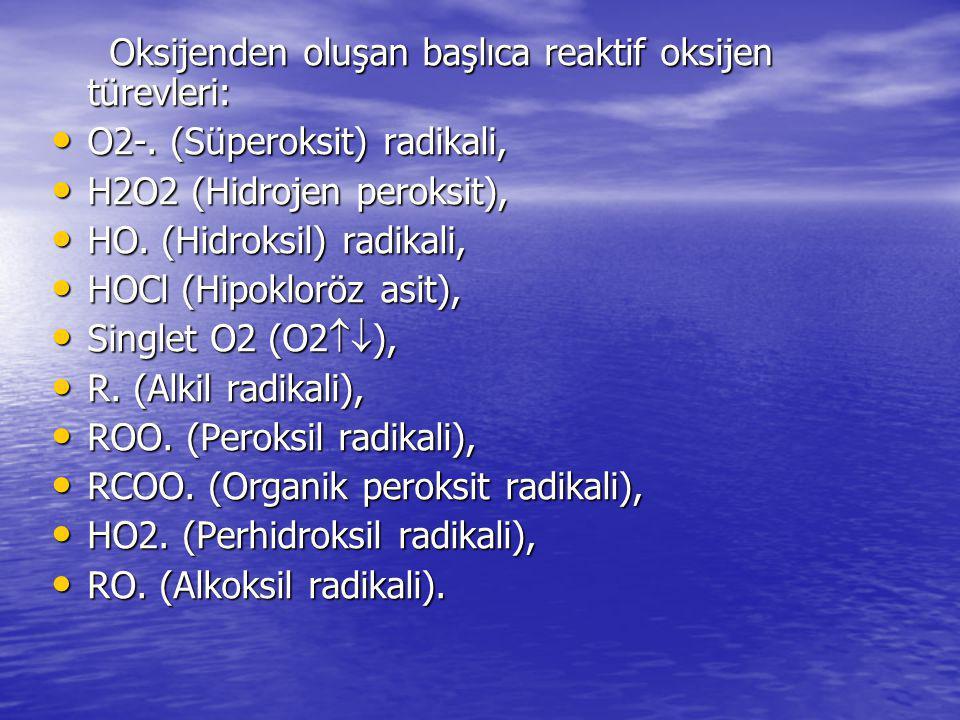 Oksijenden oluşan başlıca reaktif oksijen türevleri: