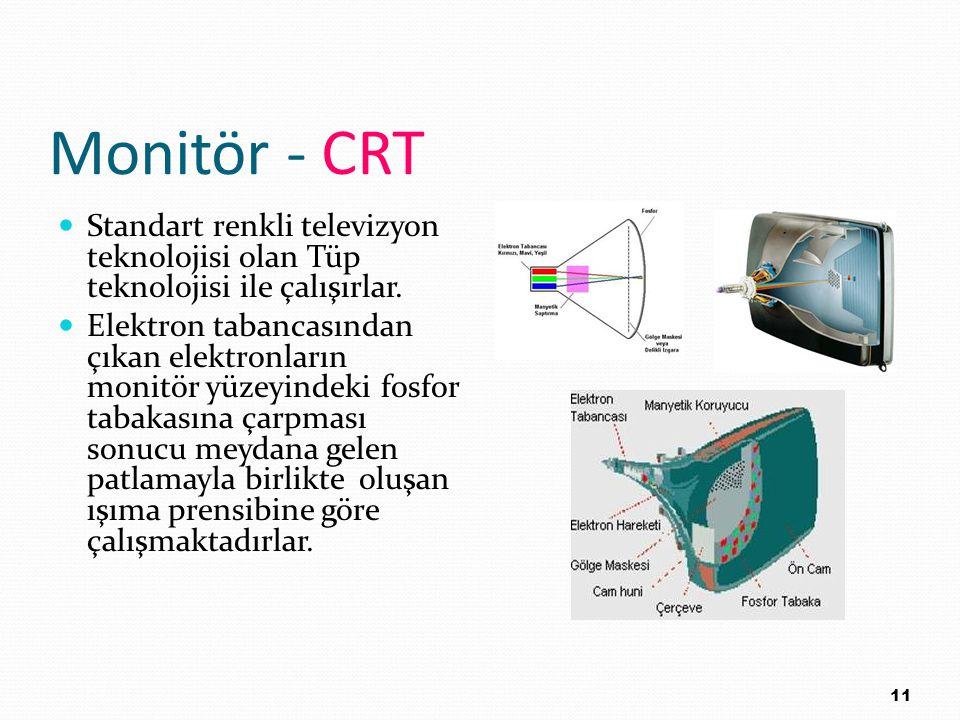 Monitör - CRT Standart renkli televizyon teknolojisi olan Tüp teknolojisi ile çalışırlar.