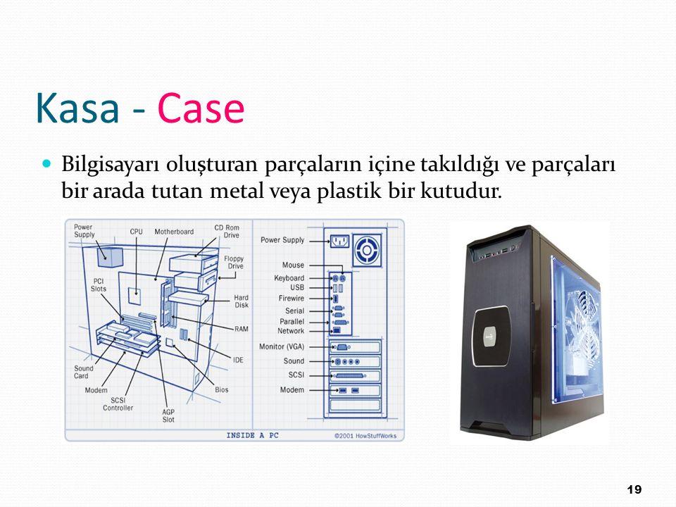 Kasa - Case Bilgisayarı oluşturan parçaların içine takıldığı ve parçaları bir arada tutan metal veya plastik bir kutudur.