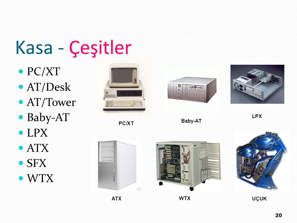 Kasa - Çeşitler PC/XT AT/Desk AT/Tower Baby-AT LPX ATX SFX WTX LPX