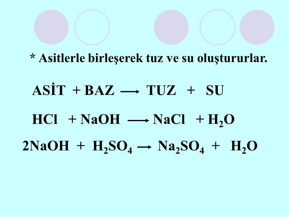 ASİT + BAZ TUZ + SU HCl + NaOH NaCl + H2O 2NaOH + H2SO4 Na2SO4 + H2O