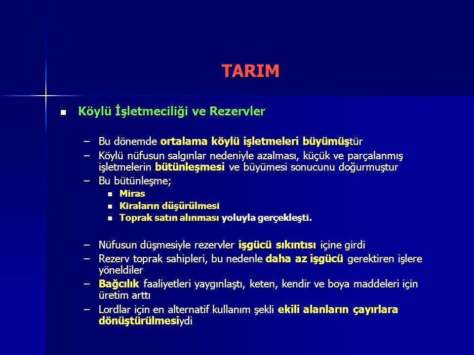 TARIM Köylü İşletmeciliği ve Rezervler