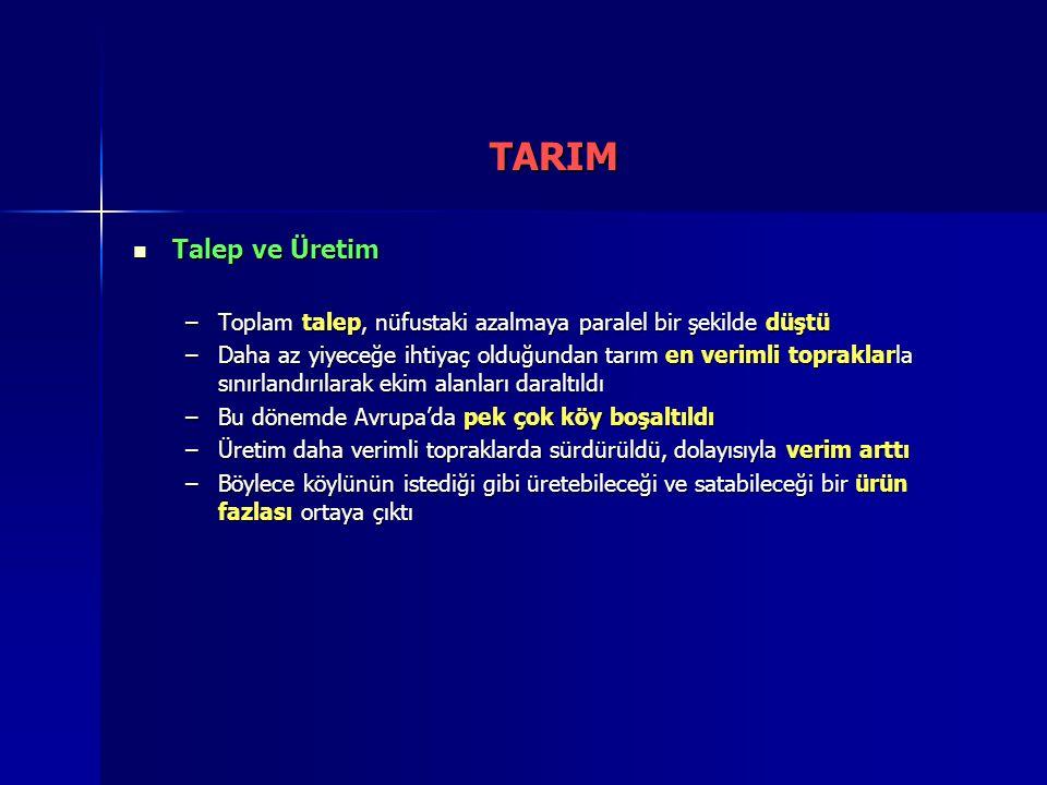 TARIM Talep ve Üretim. Toplam talep, nüfustaki azalmaya paralel bir şekilde düştü.