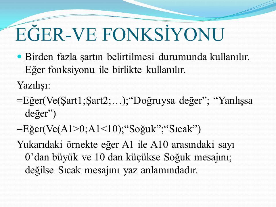 EĞER-VE FONKSİYONU Birden fazla şartın belirtilmesi durumunda kullanılır. Eğer fonksiyonu ile birlikte kullanılır.