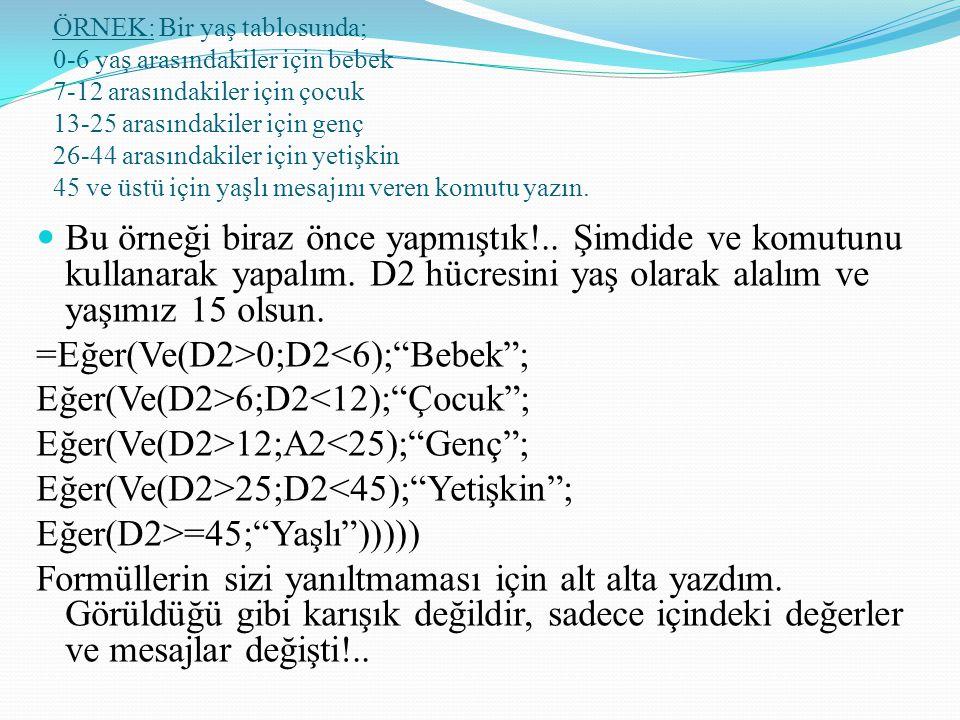 =Eğer(Ve(D2>0;D2<6); Bebek ; Eğer(Ve(D2>6;D2<12); Çocuk ;