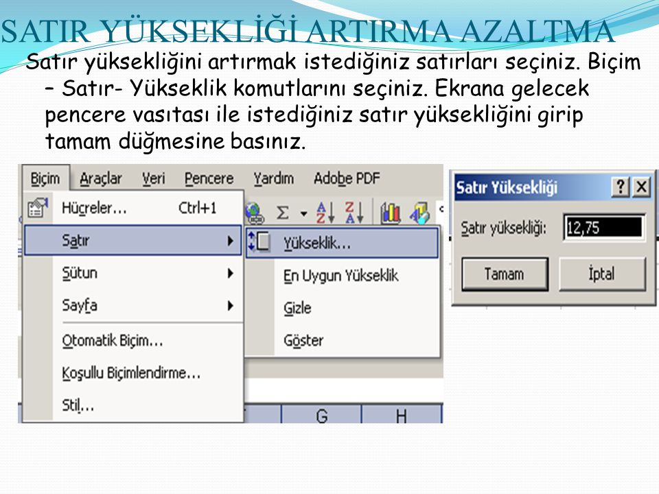 SATIR YÜKSEKLİĞİ ARTIRMA AZALTMA