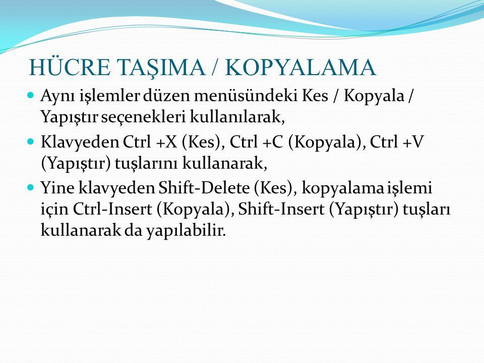 HÜCRE TAŞIMA / KOPYALAMA