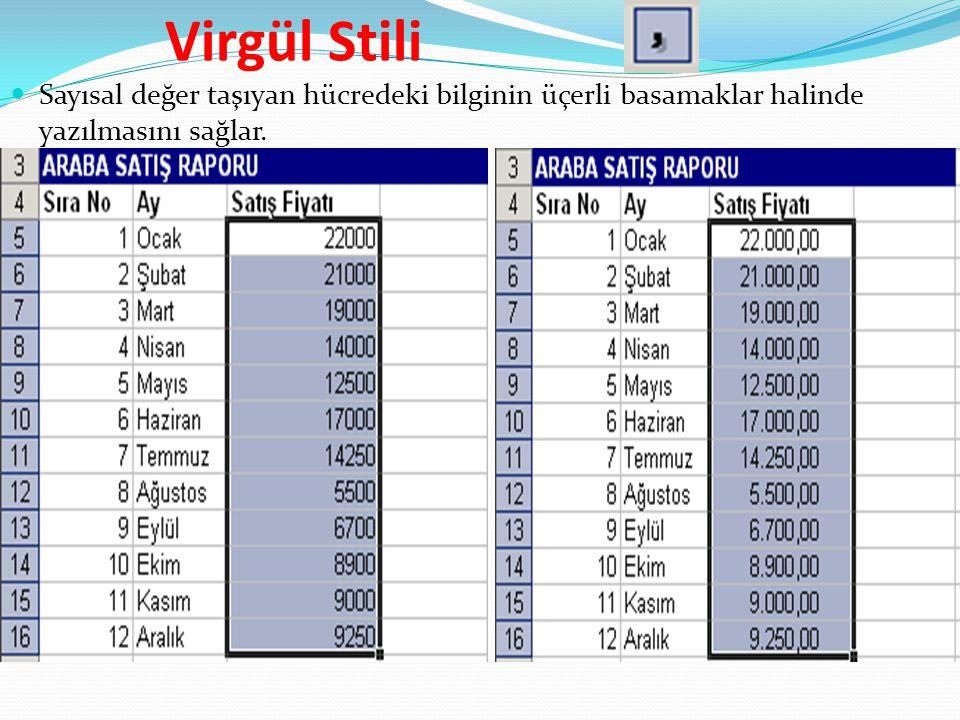 Virgül Stili Sayısal değer taşıyan hücredeki bilginin üçerli basamaklar halinde yazılmasını sağlar.