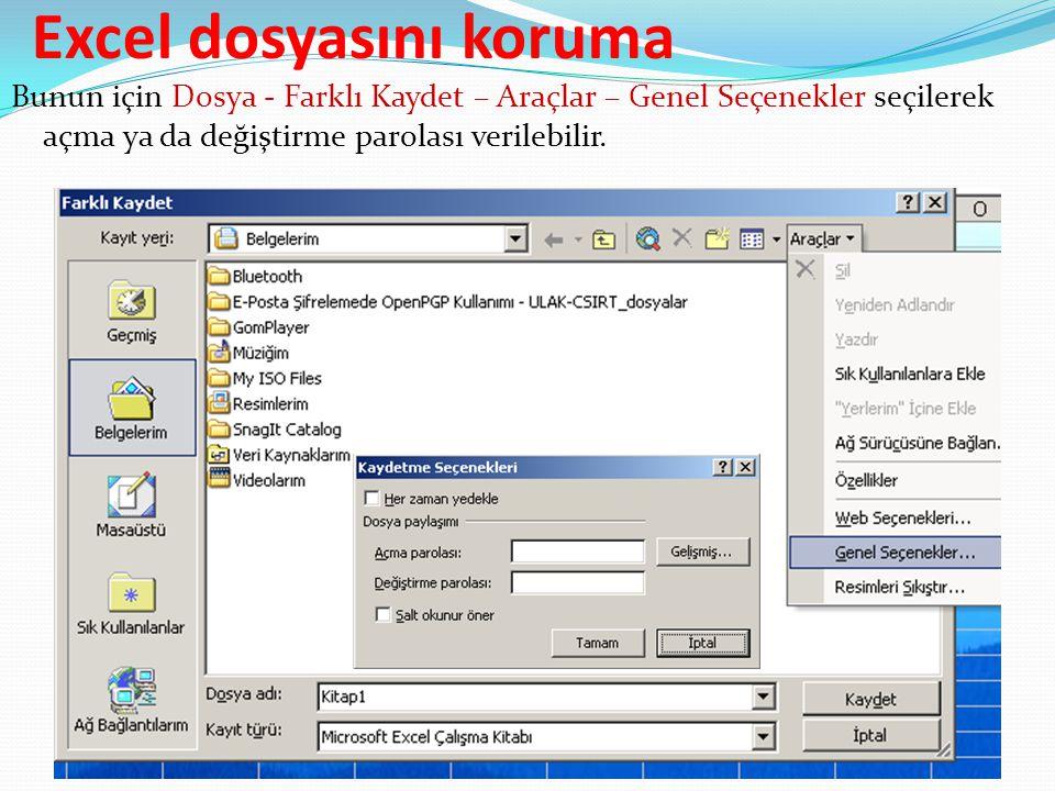 Excel dosyasını koruma