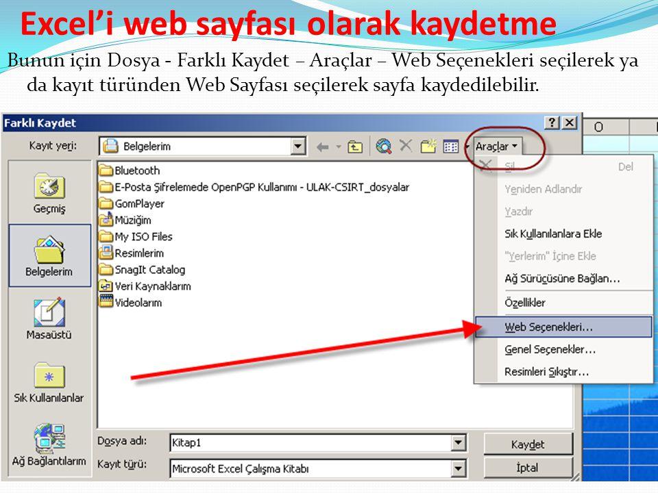Excel'i web sayfası olarak kaydetme