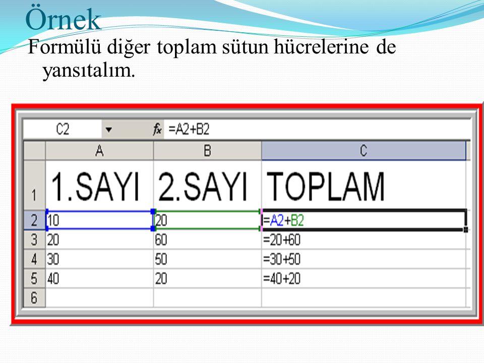 Örnek Formülü diğer toplam sütun hücrelerine de yansıtalım.