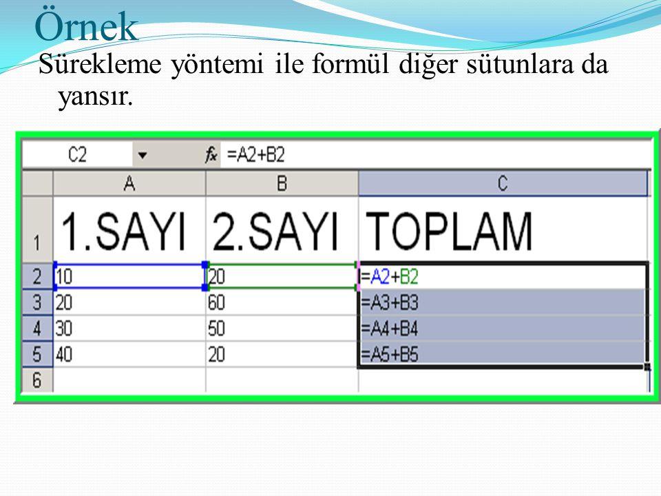 Örnek Sürekleme yöntemi ile formül diğer sütunlara da yansır.