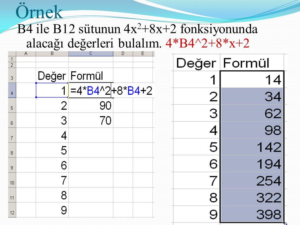 Örnek B4 ile B12 sütunun 4x2+8x+2 fonksiyonunda alacağı değerleri bulalım. 4*B4^2+8*x+2