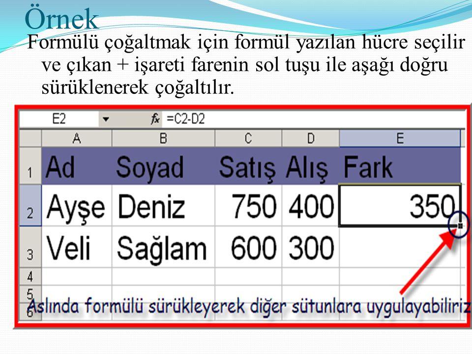 Örnek Formülü çoğaltmak için formül yazılan hücre seçilir ve çıkan + işareti farenin sol tuşu ile aşağı doğru sürüklenerek çoğaltılır.