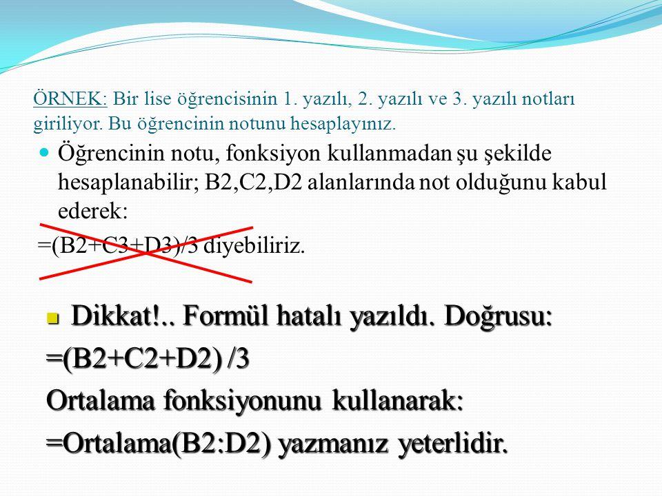 Dikkat!.. Formül hatalı yazıldı. Doğrusu: =(B2+C2+D2) /3