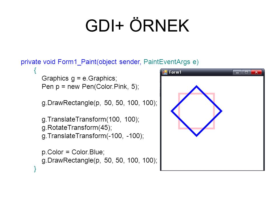 GDI+ ÖRNEK private void Form1_Paint(object sender, PaintEventArgs e) {