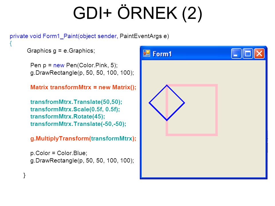 GDI+ ÖRNEK (2) private void Form1_Paint(object sender, PaintEventArgs e) { Graphics g = e.Graphics;