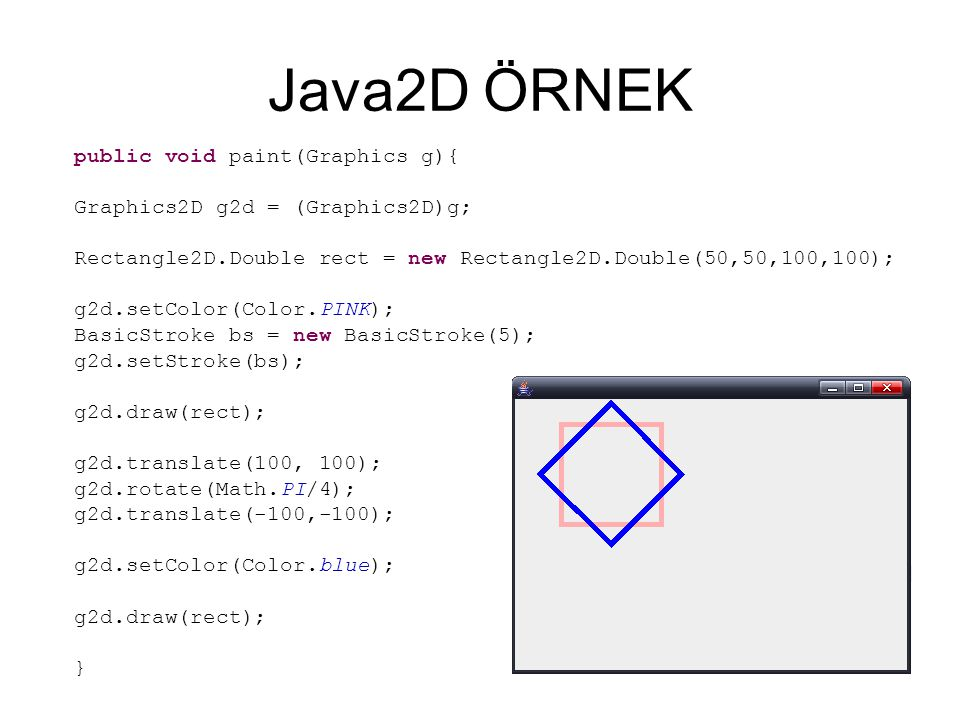 Java2D ÖRNEK public void paint(Graphics g){