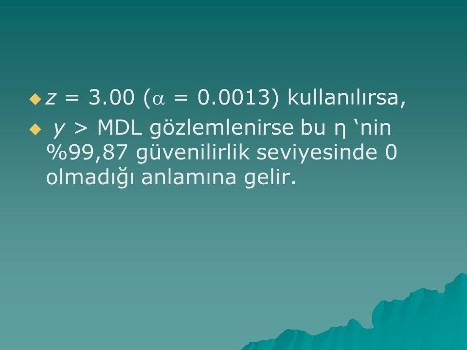 z = 3.00 (a = 0.0013) kullanılırsa, y > MDL gözlemlenirse bu η 'nin %99,87 güvenilirlik seviyesinde 0 olmadığı anlamına gelir.