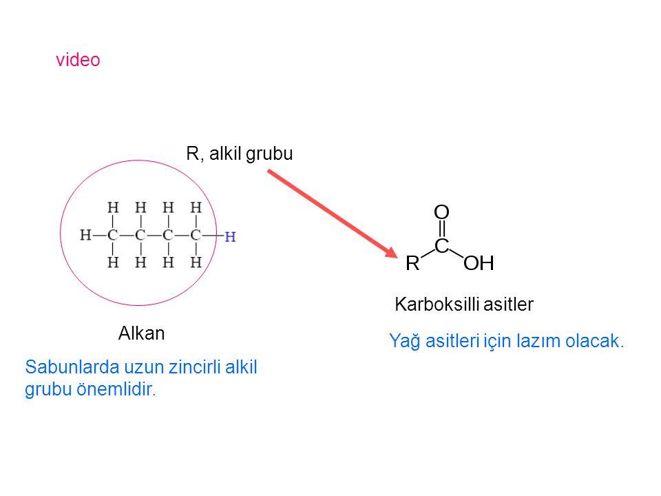 video R, alkil grubu. Karboksilli asitler. Alkan.