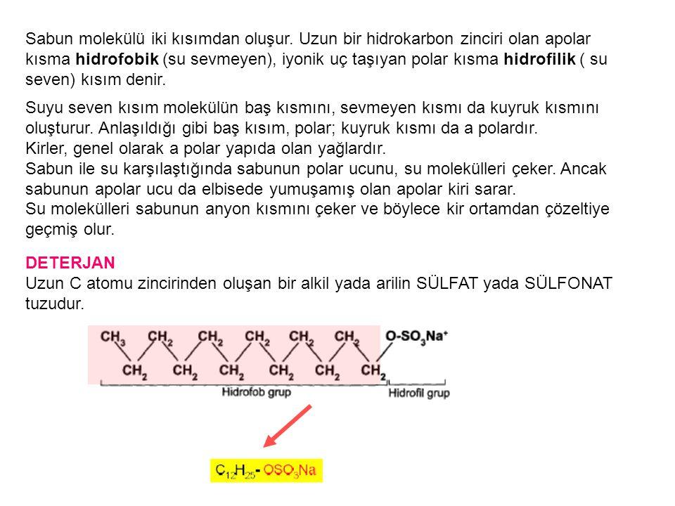 Sabun molekülü iki kısımdan oluşur