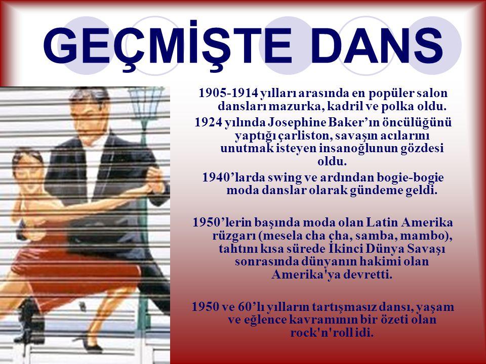 GEÇMİŞTE DANS 1905-1914 yılları arasında en popüler salon dansları mazurka, kadril ve polka oldu.