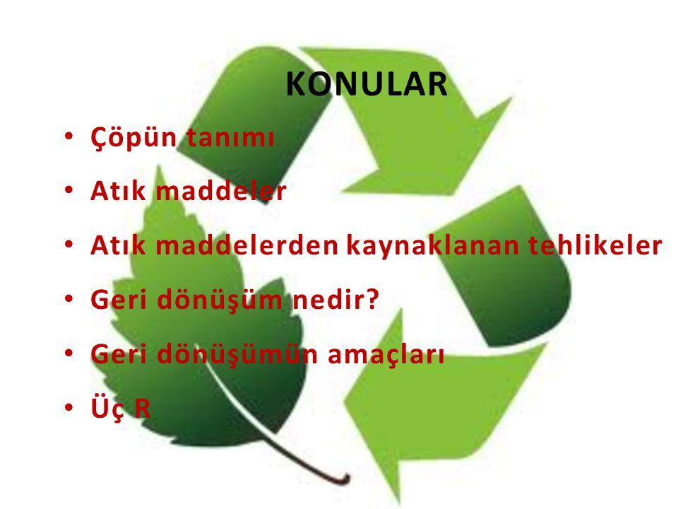 KONULAR Çöpün tanımı Atık maddeler
